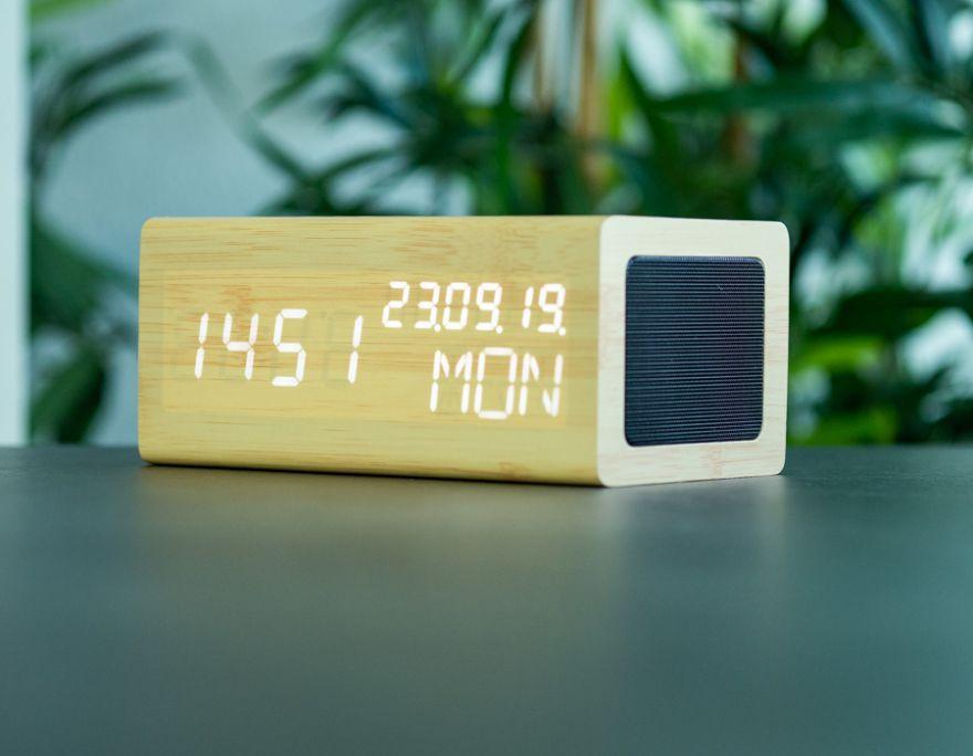 AVENWOOD induktiv 10W charging Bambus Wecker with Speaker
