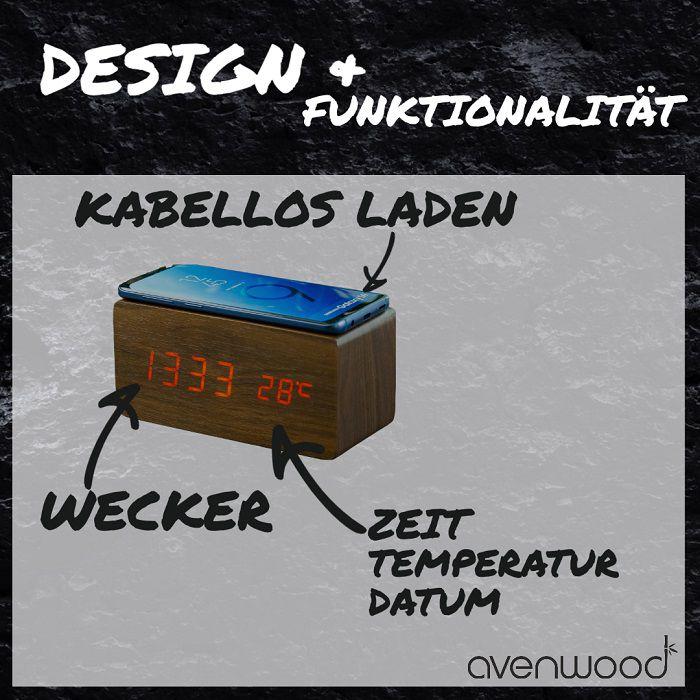 AVENWOOD induktiv 10W charging Nussbaum Wecker