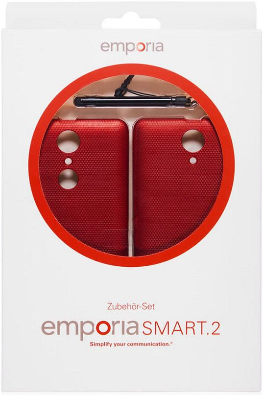 emporia Smart 2 Zubehoerset (2x Batteriefachdeckel rot/Stylus Stift)
